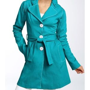 Anthropologie Nick & Mo Trench Coat Teal Size S